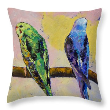Green And Violet Budgies Throw Pillow