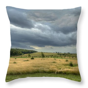 Throw Pillow featuring the photograph Green And Yellow Meadows At A Golfing Club In Kashubia Of Poland by Julis Simo