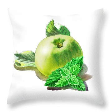 Throw Pillow featuring the painting Green Apple And Mint Happy Union by Irina Sztukowski