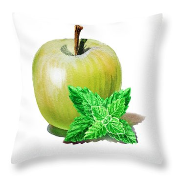 Throw Pillow featuring the painting Green Apple And Mint by Irina Sztukowski