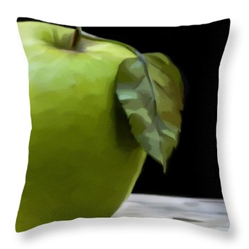 Throw Pillow featuring the digital art Green Apple by Nina Bradica