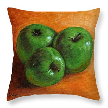 Green Apples Throw Pillow by Asha Sudhaker Shenoy