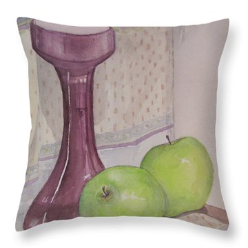 Green Apples Throw Pillow by Carol Flagg