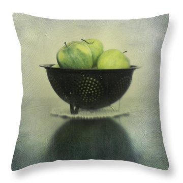 Green Apples In An Old Enamel Colander Throw Pillow