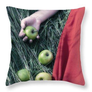 Green Apples Throw Pillow by Joana Kruse