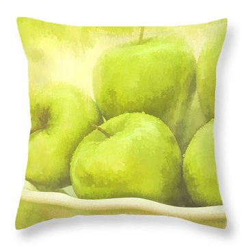 Throw Pillow featuring the photograph Green Apples by Linda Blair