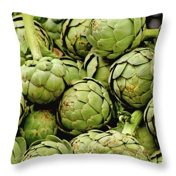 Green Artichokes Throw Pillow
