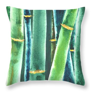 Green Bamboo Throw Pillow