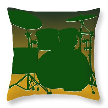 Green Bay Packers Drum Set Throw Pillow by Joe Hamilton
