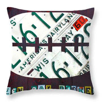 Green Bay Packers Football License Plate Art Throw Pillow by Design Turnpike