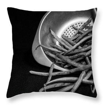 Green Beans Throw Pillow by Lauri Novak