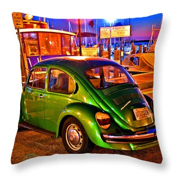 Throw Pillow featuring the photograph Green Beetle by Christopher McKenzie