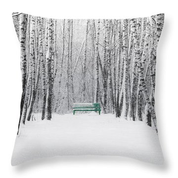 Green Bench Throw Pillow