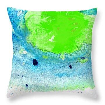 Green Blue Art - Making Waves - By Sharon Cummings Throw Pillow by Sharon Cummings