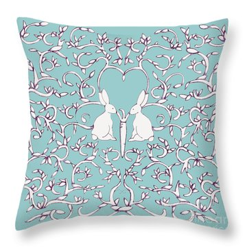 Throw Pillow featuring the drawing Green Blue Rabbits Leaves by Donna Huntriss