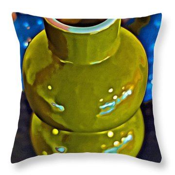 Throw Pillow featuring the painting Green  Blue Vases by Joan Reese