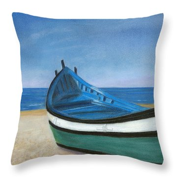 Green Boat Blue Skies Throw Pillow by Arlene Crafton