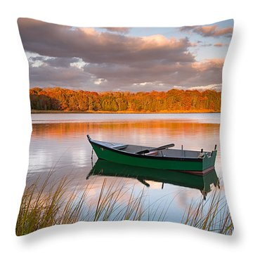 Green Boat On Salt Pond Throw Pillow