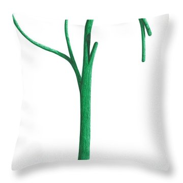 Green Branche Throw Pillow by Giuseppe Epifani