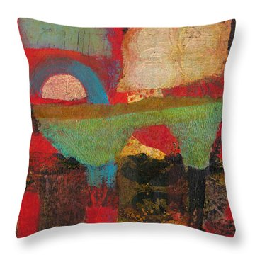 Throw Pillow featuring the mixed media Green Bridge by Catherine Redmayne
