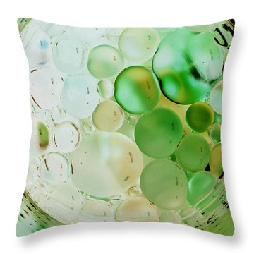 Throw Pillow featuring the photograph Green Bubbles by Christine Ricker Brandt