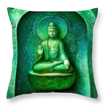Green Buddha Throw Pillow
