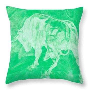 Green Bull Negative Throw Pillow