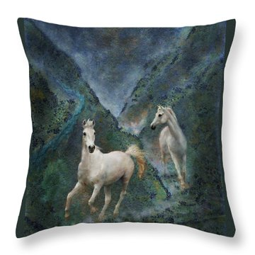 Green Canyon Run Throw Pillow