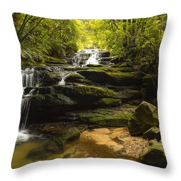 Green Cascades Throw Pillow