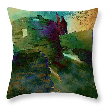 Green Castle Throw Pillow