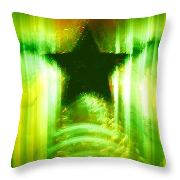 Green Christmas Star Throw Pillow by Gaspar Avila