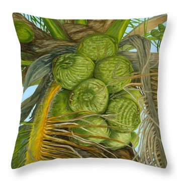 Green Coconut Throw Pillow