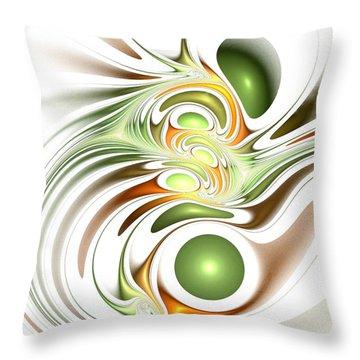 Green Creation Throw Pillow by Anastasiya Malakhova