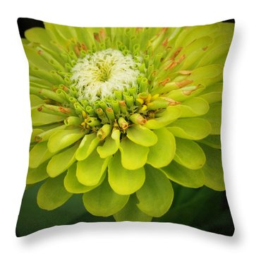 Green Dahlia Throw Pillow