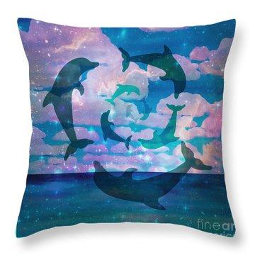 Green Dolphin Dance Throw Pillow