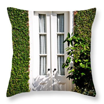 Throw Pillow featuring the photograph Green Doorway by Jean Haynes