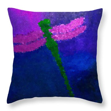 Throw Pillow featuring the painting Green Dragonfly by Anita Lewis