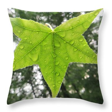 Green Droplets Throw Pillow by Sonali Gangane