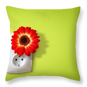 Green Electricity Throw Pillow by Carlos Caetano