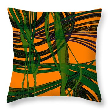 Throw Pillow featuring the digital art Green Excitement by Hanza Turgul