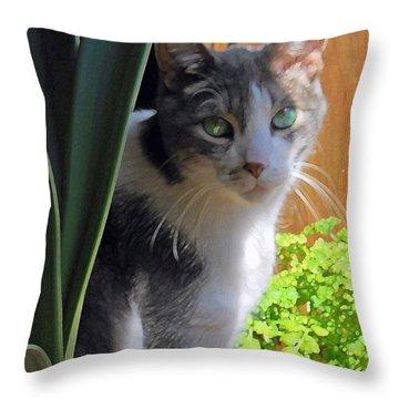 Green Eyed Cat Throw Pillow