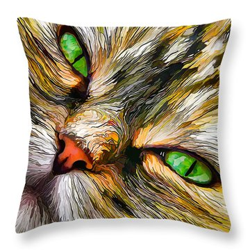 Green-eyed Tortie Throw Pillow