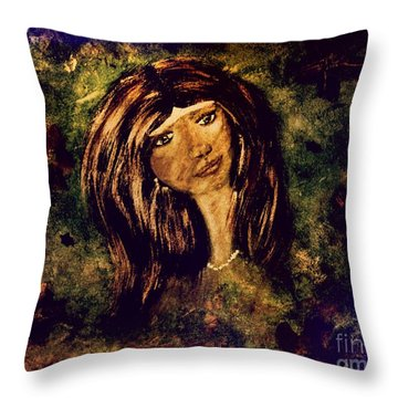 Throw Pillow featuring the painting Green Eyes by Denise Tomasura