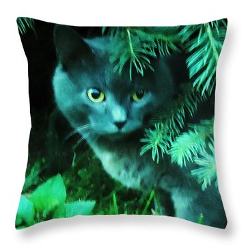 Green Eyes Throw Pillow by Leslie Manley