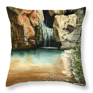 Green Falls II Throw Pillow