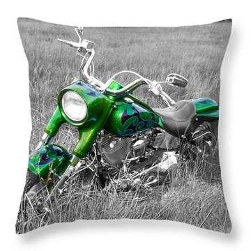 Green Fat Boy Throw Pillow by Guy Whiteley