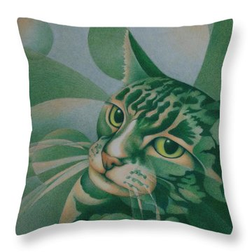 Throw Pillow featuring the painting Green Feline Geometry by Pamela Clements