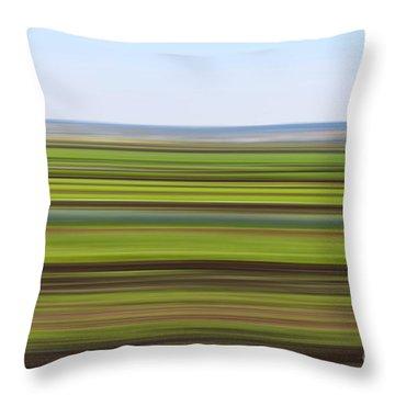 Green Field Abstract Throw Pillow