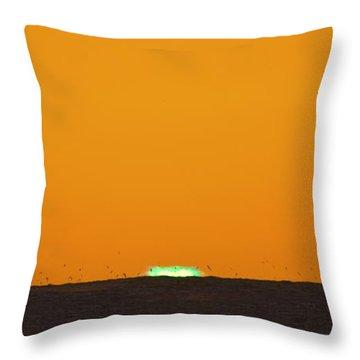 Green Flash Bird Pile Throw Pillow by Sean Davey