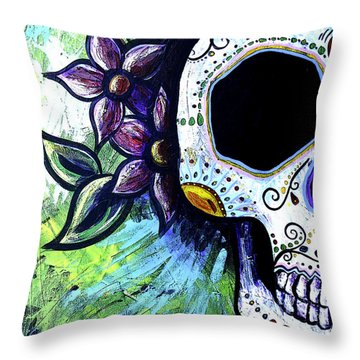 Green Flower Skull Throw Pillow